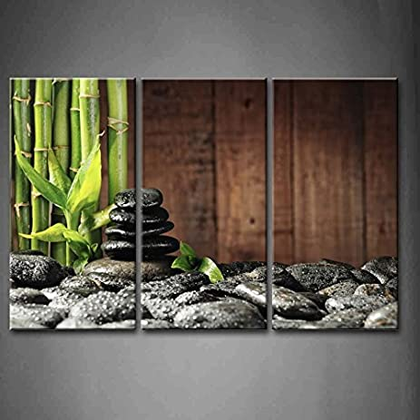 3 Panel Wall Art Green Spa Concept Bamboo Grove And Black Zen Stones On The  Old