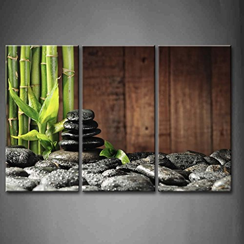 (3 Panel Wall Art Green Spa Concept Bamboo Grove Black Zen Stones Old Wooden Background Painting Pictures Print On Canvas Botanical Picture For Modern Decoration Stretched By Wooden Frame Ready To Hang )