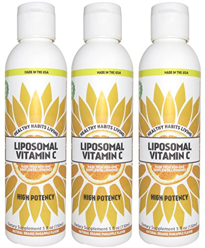 Liposomal Vitamin C - Made in the USA with Non-GMO Sunflower Liposomes - 30 x 1,000 mg Servings (3) by Healthy Habits Living