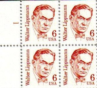 WALTER LIPPMANN ~ JOURNALIST #1849 Block of 4 x 6 cents US Postage Stamps
