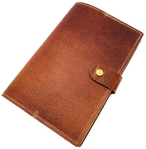 (Refillable Leather Journal & Sketchbook, 6 x 9 inch 100 Sheets, 100gsm Thick Paper Classic Travel Diary Leather Notebook for Men & Women - A5 Size Brown)