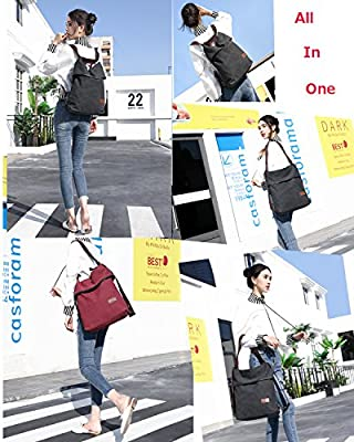 Travistar Women Multifunction Shoulder Bag- Canvas Backpack Purse Crossbody Casual Travel Daypack
