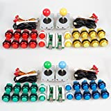 EG Starts 4 Player Classic DIY Arcade Joystick Kit Parts USB Encoder To PC Controls Games + 4/8 Way Stick + 5V led Illuminated Push Buttons for Video Game Consoles Mame Raspberry Pi & 4 Colors