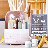 Multifunctional Makeup Organizer with Dustproof Jewelry and Cosmetic Storage Skin Care Products Rack Dressing Table Desktop Finishing Box with Drawer on Countertop (Pink)