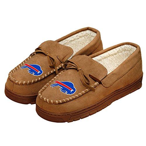 Buffalo Bills Embroidered Football - NFL Football Mens Team Logo Moccasin Slippers Shoe - Pick Team (Buffalo Bills, Medium)