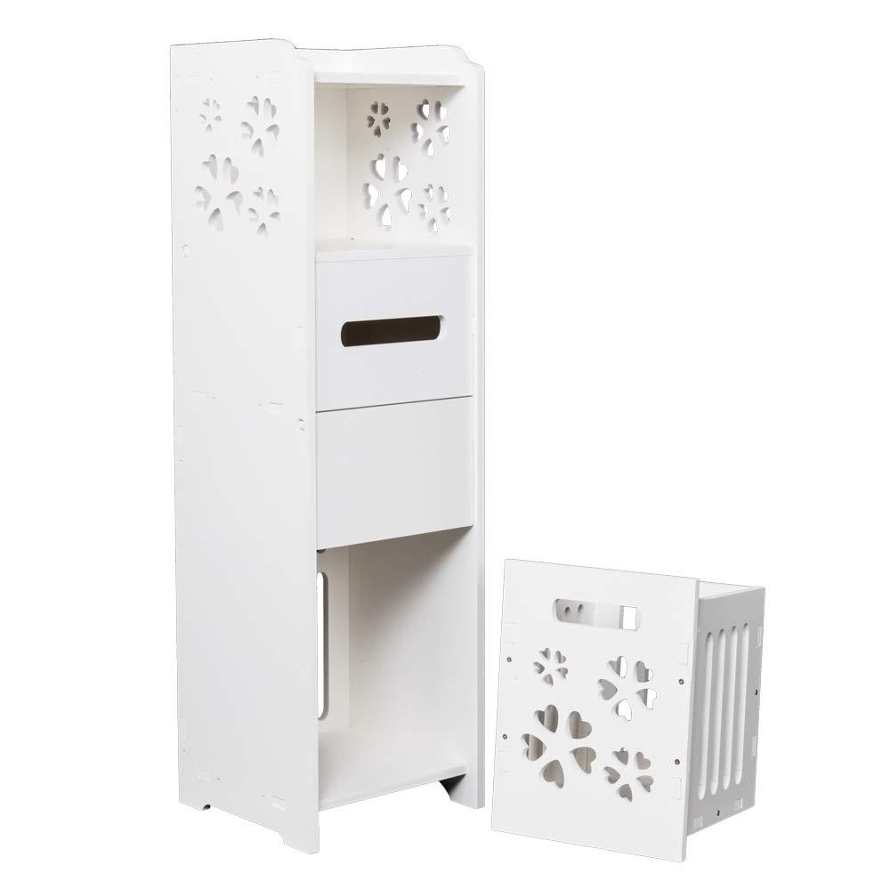 JOYBASE 3-Tier Bathroom Floor Storage Cabinet, Space Saving Standing Tall Shelf Organizer with Garbage Can, 31.5 Inch Height (White)