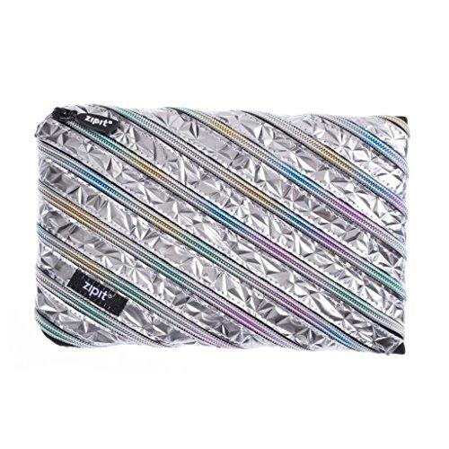 ZIPIT Metallic Big Pencil Case/Cosmetic Makeup Bag, Silver-Rainbow