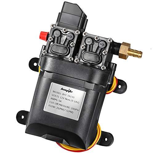 (bayite 12V DC Fresh Water Pump 7.5 L/Min 2 GPM 100 PSI Adjustable 12 Volt Diaphragm Pump Self Priming Sprayer Pump with Pressure Switch for RV Camper Marine Boat)