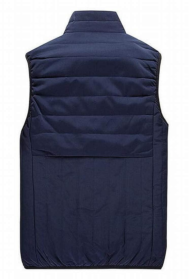 YYG Men Sleeveless Zip Front Solid Thermal Down Coat Vest Outerwear