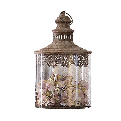 LOBERON Glas-Dose Sevran im Antik-Look, für Stumpenkerzen geeignet, ca. 37/20,5 cm, antikbraun/klar