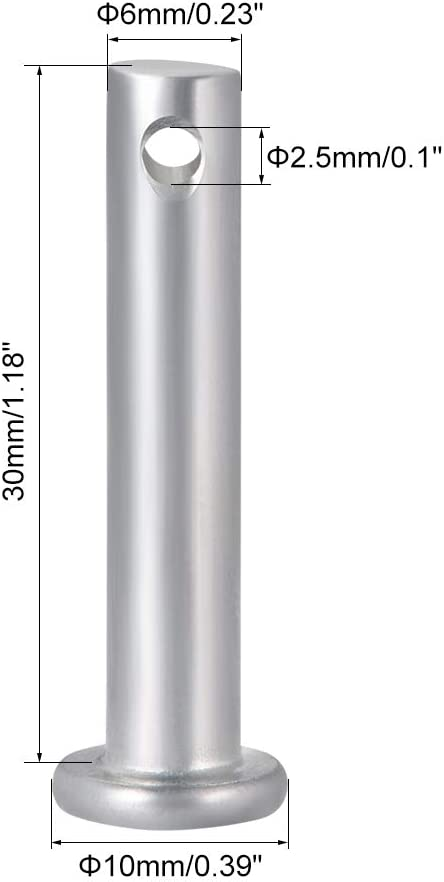 uxcell Single Hole Clevis Pins,6mm x 30mm Flat Head Zinc-Plating Steel 10 Pcs