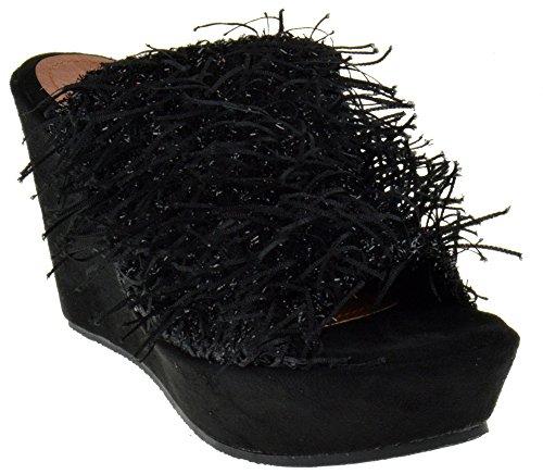 Nature Breeze Wilma 01 Peep Toe Confetti Fringy Wedge Platform Sandals Black 6