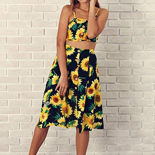 Kurze Ärmel Kleid gesetzt 2 Stück Blumendruck Knielang Sommer Party Strand