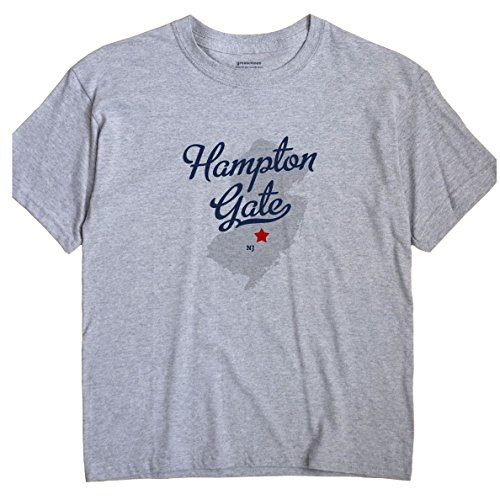 GreatCitees Hampton Gate New Jersey NJ MAP Unisex Souvenir T Shirt ()