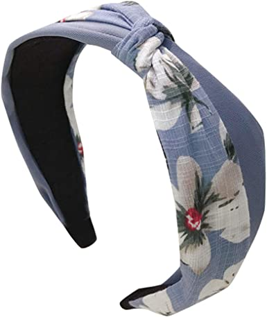 Womens Polka Dot Bow Denim Cloth Headband Hairband Knot Hair Band Wide Headwear