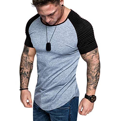 Mens Casual Short Sleeve Slim Fit T-Shirt Bodybuilding Muscle Fitness Tee Tops (US L, Light Grey+Black) (Casual Slim Color)