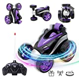 VCOSTORE Remote Control Car, Up-Right Walking 360°Rotation Spin and Flips Remote Control Cars for Boys&Girls, Light Radio Control Cars for Childs Age 5 6 7 8 9 10+ (Purple)