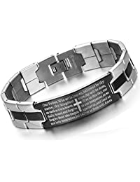 Men's Vintage Stainless Steel Black Cross Silver English Bible Lords Prayer Religious Link Wrist Bracelet