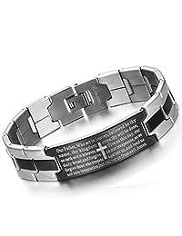 Flongo Men's Vintage Stainless Steel Black Cross Silver English Bible Lords Prayer Religious Link Wrist Bracelet, Religious Bible Lord's Prayer Cross Bracelet