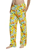 Underboss Unisex Mens Womens Pokemon Printed Yellow Lounge Pajama Pants with Elastic Drawstring Waist X Small