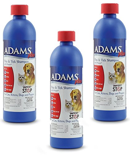 Cat Shampoo 12 Oz Bottle - (3 Pack) Adams Plus Flea and Tick Shampoo with Precor for Dogs and Cats - 12-Ounce Bottles