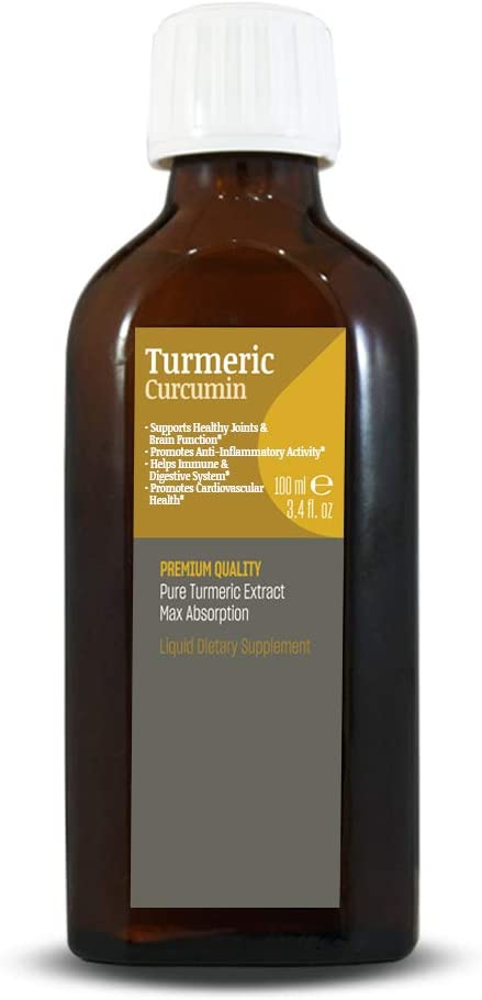 Talya Turmeric Liquid Extract 100ml - Full Strength - Turmeric Curcumin Drops Liquid delivery for Best Absorption. Joint Pain and Inflammation Support
