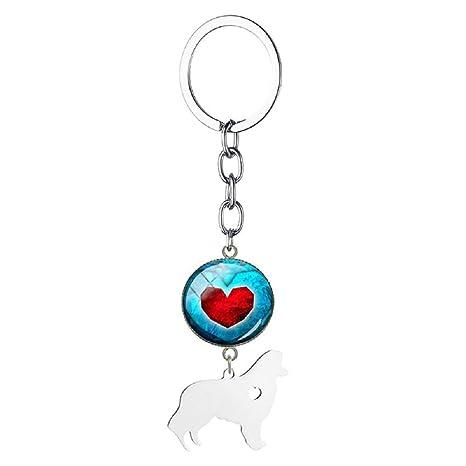 Amazon.com: Collie llavero Rough Collie llavero Love Heart ...