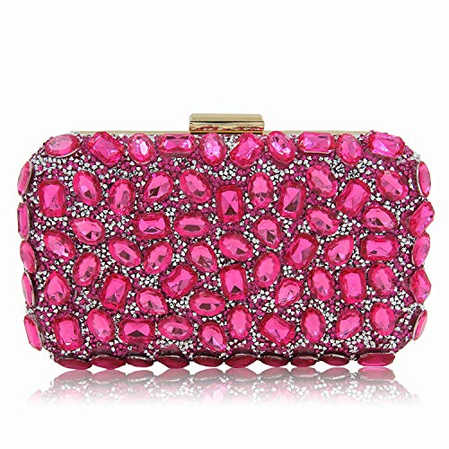 Bag for Rhinestone Bags Dinner Clutch Evening Shoulder One Superw Women Party Pink Crossbody Purse Handbag xZwAqAOI