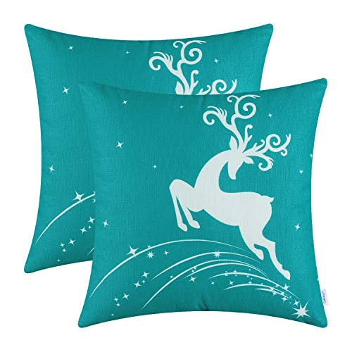 CaliTime Pack of 2 Soft Canvas Throw Pillow Covers Cases for Couch Sofa Home Decoration Christmas Holiday Reindeer Jump with Stars Print 18 X 18 Inches Teal (Aqua And Red Pillows)
