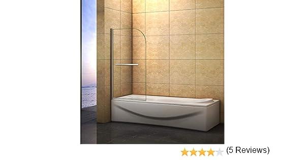 Mampara de bañera Abatible de 1 Hoja 180 grados con Toallero 80x140cm: Amazon.es: Bricolaje y herramientas