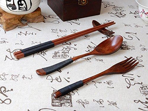 Japanese Tableware,Lovewe Japanese Vintage Wooden Chopsticks Spoon Fork Tableware 3pcs Set New Gift by Lovewe_Kitchen Tool (Image #1)