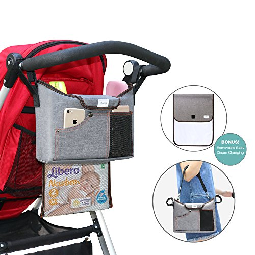 Stroller Organiser Bag, YOOFAN Stroller Pram Buggy Organiser Storage Bag with Removable Baby Diaper Changing Mat & Zipper Net Bag, 2 Cup Holders, Large Storage Space for iPhone, Toys and Accessories