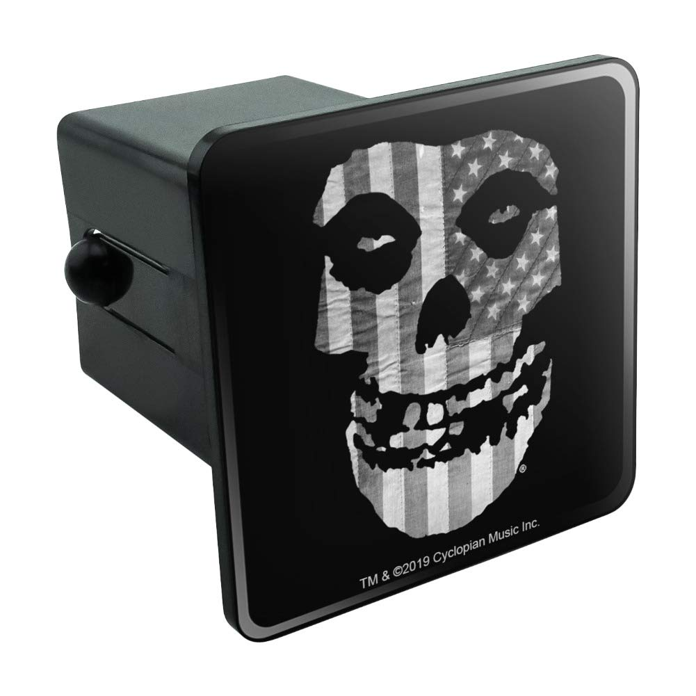 Misfits Gray American Flag Fiend Skull Logo Tow Trailer Hitch Cover Plug Insert