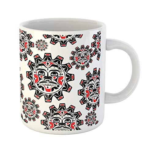 Emvency Funny Coffee Mug the Sun Symbol Modern Stylization North American and Canadian Native in Black Red 11 Oz Ceramic Coffee Mug Tea Cup Best Gift Or Souvenir