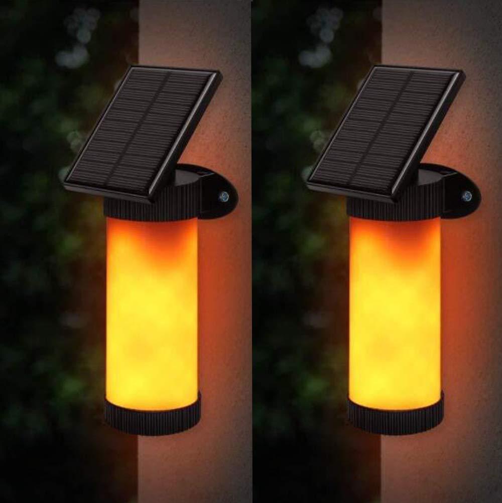 sensor nocturno incorporado para iluminaci/ón impermeable IP65 para exteriores jard/ín camino. Perete 2PACK B/&T Llama de luz Solar Luz de la Llama 102 LED Flame Warm Lamp