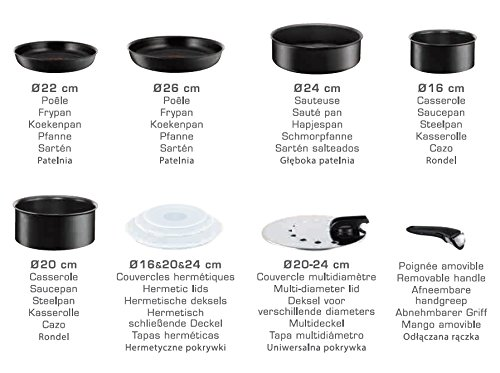 Amazon.com: Tefal Ingenio 5 l6549602 Set of Frying Pans and Saucepans Performance Black 10 Pieces - suitable for all Heat Sources including Induction: Home ...