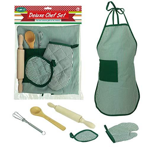 Ktyssp 6pcs Kids Cooking and Baking Set Kitchen Costume Pretend Role Play Kit Apron Girl Favorite ()