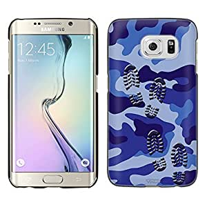 Samsung Galaxy S6 Edge Plus Case, Snap On Cover by Trek Footprints on Blue Camouflage Case