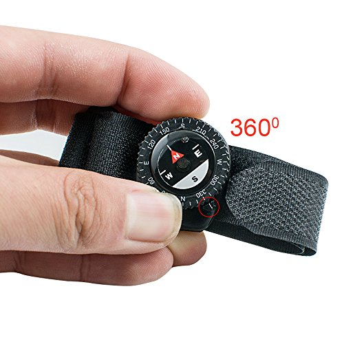 Pevor Man's Black Nylon Band Compass With Velcro Closure Wrist Compass For Outdoor (Compass Band)