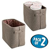 mDesign Soft Cotton Fabric Bathroom Storage Bin Basket with Coated Interior and Attached Handles - Organizer for Closets, Cabinets, Shelves - Pack of 2, Rectangular with Textured Weave, Espresso/Brown