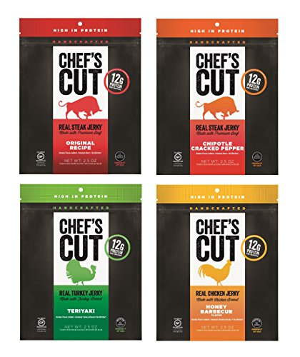 Chef's Cut Real Jerky, Variety Pack, 2.5 Ounce (Pack of 4)