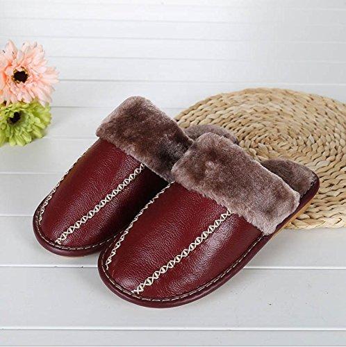 mhgao Ladies Casual de piel sintética zapatillas en otoño y invierno la cálido interior Zapatillas rojo vino