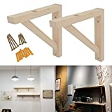 OVOV 2 Pack Wall Mount Wood Shelf Solid Bracket Shelf Supports Pendant Lamp Kit Includes Screws (Wood) 10 inch
