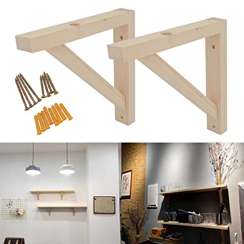 - 2 Pack Wall Mount Wood Shelf Solid Bracket Shelf Supports Pendant Lamp Kit Includes Screws (Wood) 10 inch by OVOV