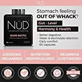 Probiotic Digestive Health Supplement From Nud | All-Natural Bare Biotic Nutrients For A Healthy Stomach And Daily Comfort | 60 Capsules