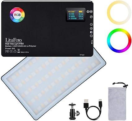 Todo para el streamer: Lámpara de vídeo LED RGB CRI 96 + 360 °, 12 efectos de luz 3200 – 7500 K, ajustable 1 – 100 % regulable para fotografía de cámara YouTube Studio Vlog