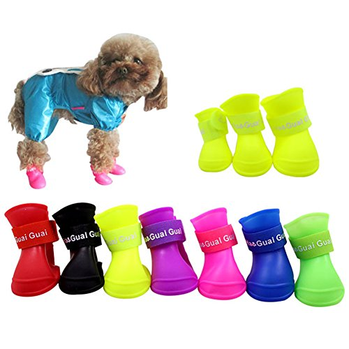 Dog Rain Shoes Boot Waterproof Anti-Slip Shoes waterproof for Small Animal Candy Colors Different Colors, 4pcs by Hoxekle (Image #2)