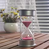 45 Minutes Hourglass,Siveit Modern Mental Cap Sandy Clock with Red Sands for Mantel Office Desk Coffee Table Book Shelf Curio Cabinet or End Table Christmas Birthday Valentine's Present