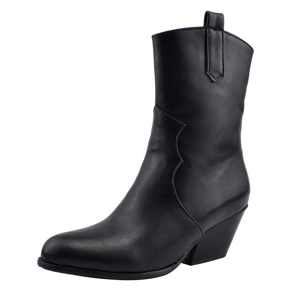 IEasⓄn Women Snake Pattern Boot Mid-Long Tube Boots Oblique Heel Booties Black by IEasⓄn Women Boots