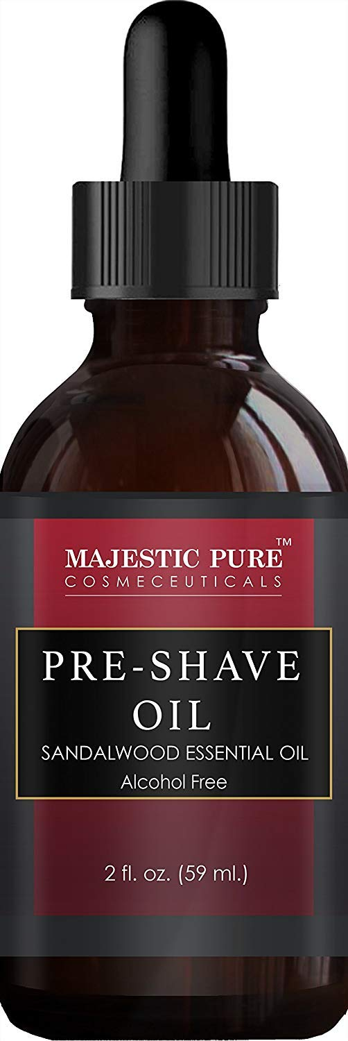 Shaving Kit for Men with Sandalwood by Majestic Pure  Set Includes Pre Shave Oil Shaving Cream